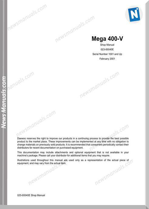 Doosan Wheel Loaders M400-V Shop Manual