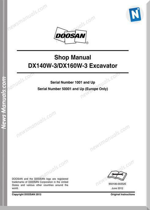Doosan Wheeled Excavators Dx140W-3 Shop Manual