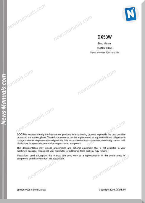 Doosan Wheeled Excavators Dx53W Shop Manual