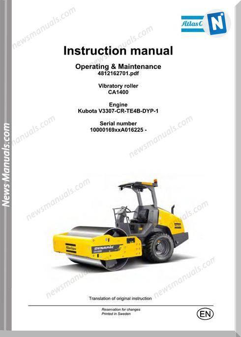 Dynapac Ca1400 Vibratory Roller Maintenance Manual
