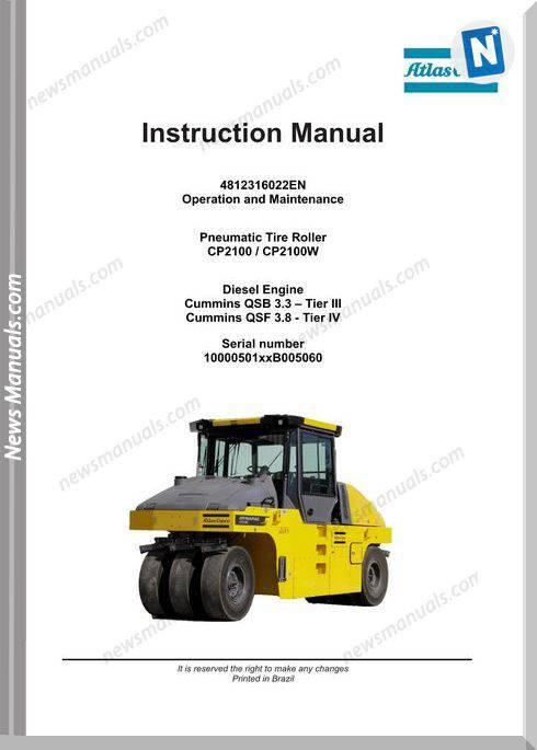 Dynapac Cp2100 Cp2100W Tire Roller Maintenance Manual
