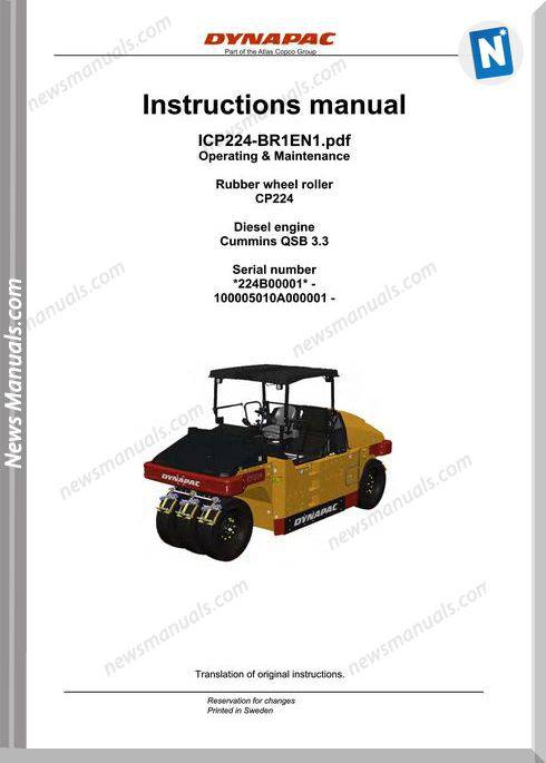 Dynapac Cp224 Operators Manual