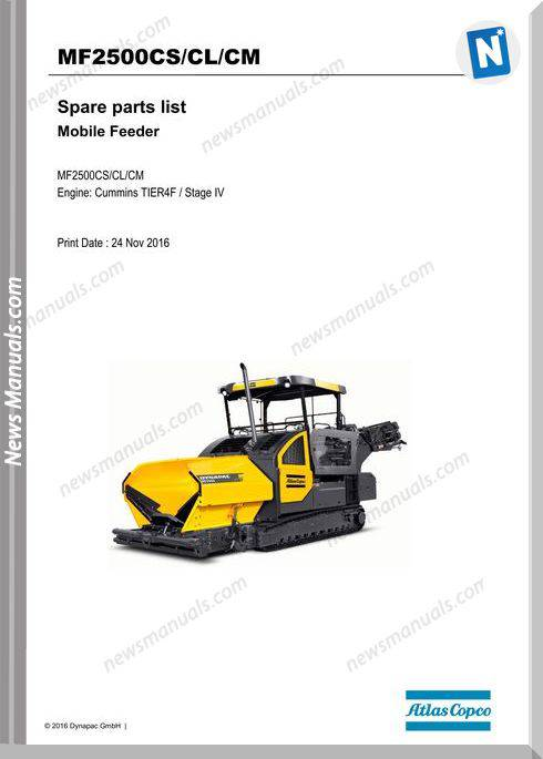 Dynapac Mf2500Cs Cl Cm Feeder Maintenance Manual
