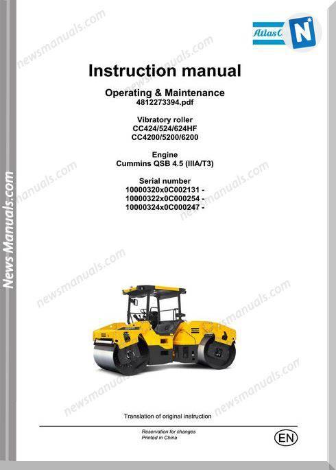Dynapac Model 4200Cc,5200,6200 Operators Maintenance