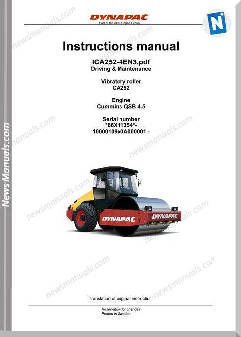 Dynapac Model Ca252 Vibratory Roller Maintenance Manual