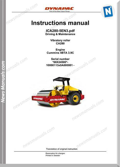 Dynapac Model Ca280 Vibratory Roller Maintenance Manual