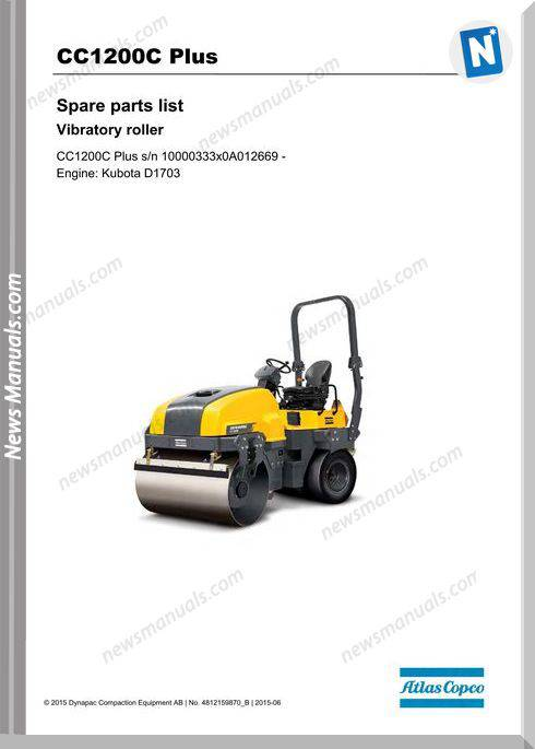 Dynapac Model Cc1200C Plus Vibratory Roller Part Manual