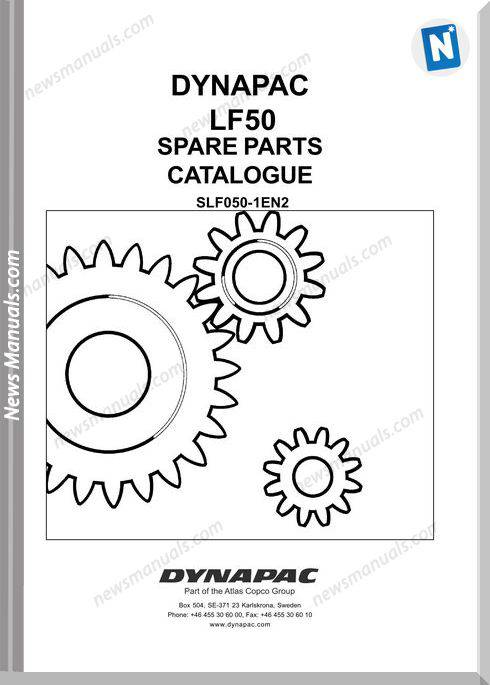 Dynapac Model Lf50 Parts Manual