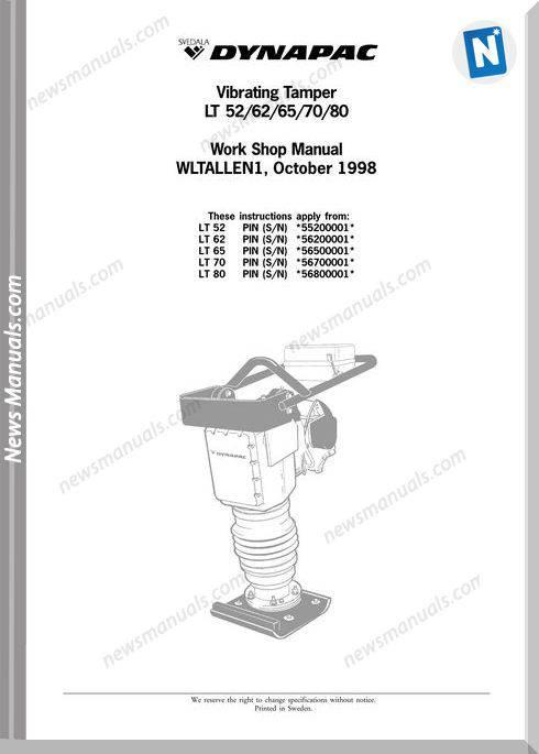 Dynapac Model Lt 5262657080 Workshop Manual