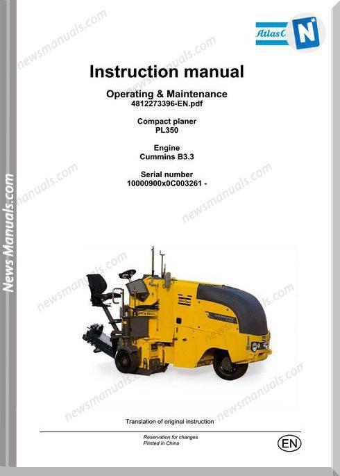 Dynapac Model Pl350 Compact Planers Maintenance Manual
