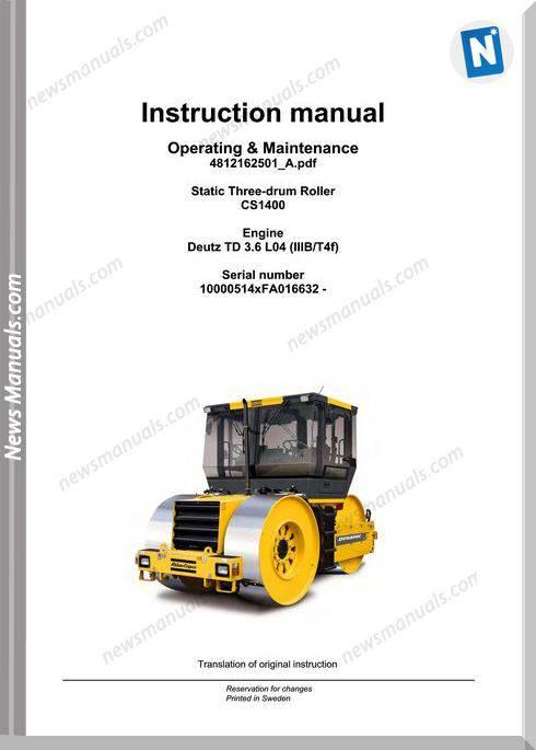 Dynapac Model Roller Cs1400 Operators And Maintenance