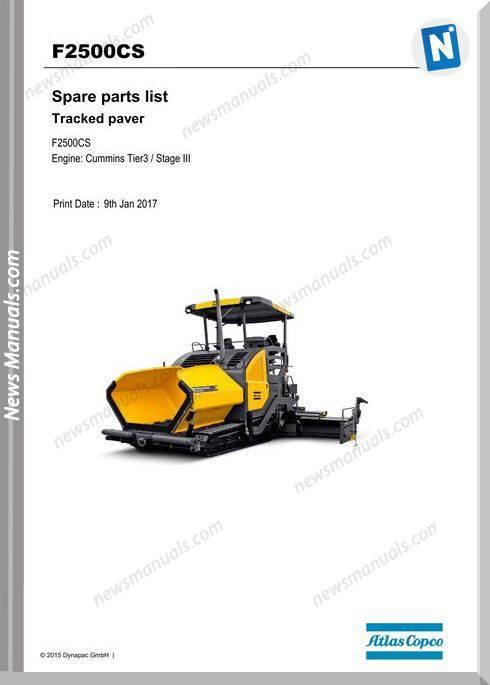 Dynapac Model Tracked Paver F2500Cs Parts Manual