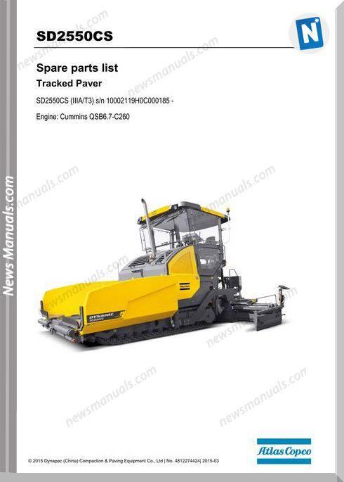 Dynapac Model Tracked Paver Sd2550Cs Parts Manuals