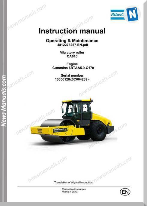 Dynapac Model Vibratory Roller Ca610 Maintenance Manual