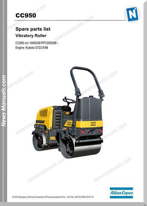 Dynapac Model Vibratoy Roller Cc950 Parts Manual