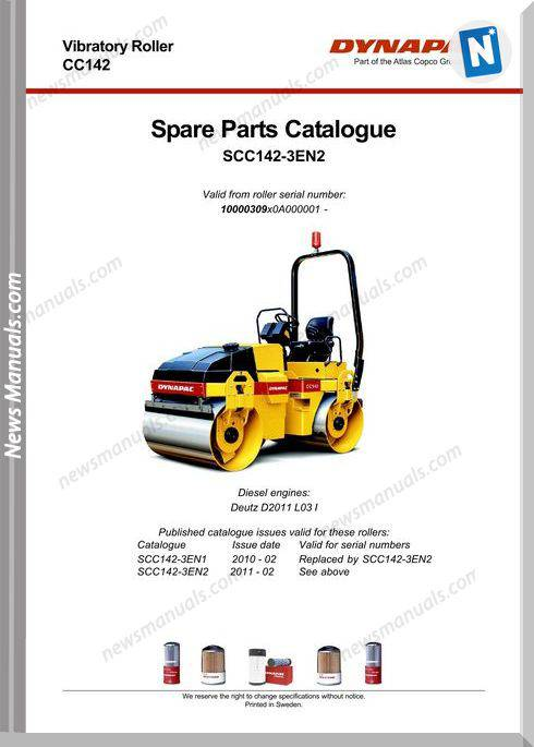 Dynapac Models Cc142 3 Parts Catalogue
