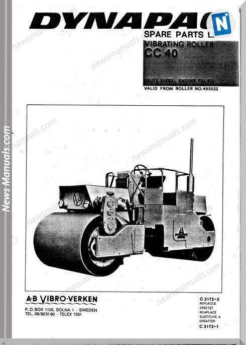 Dynapac Models Cc40 Parts Catalogue