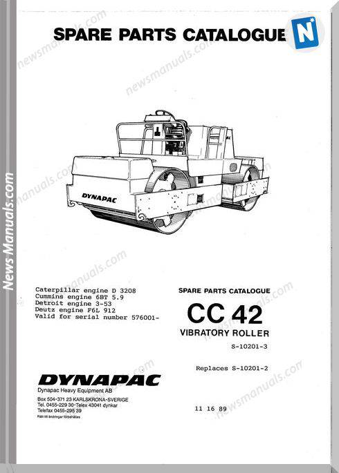 Dynapac Models Cc42 Parts Catalogue
