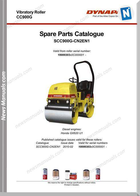 Dynapac Models Cc900G 3 Parts Catalogue