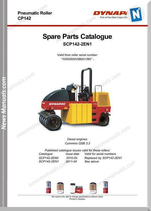 Dynapac Models Cp142 2 Parts Catalogue