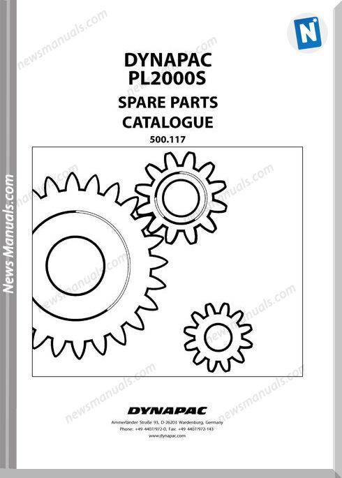 Dynapac Models Pl2000S Parts Catalogue
