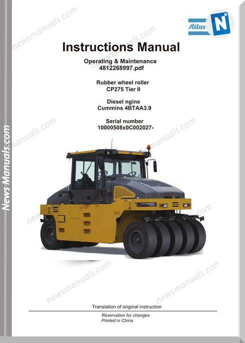 Dynapac Rubber Wheel Roller Cp275 Operation Manual