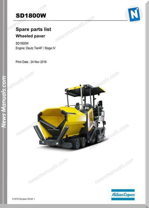 Dynapac Sd1800W Tracked Paver Parts Manual