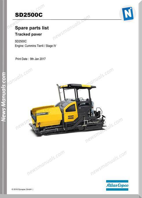 Dynapac Sd2500C Tracked Paver Parts Manual