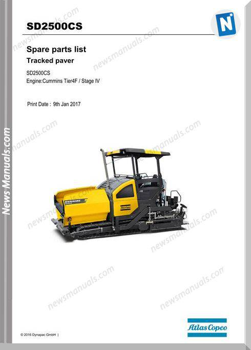Dynapac Sd2500Cs Tracked Paver Parts Manual