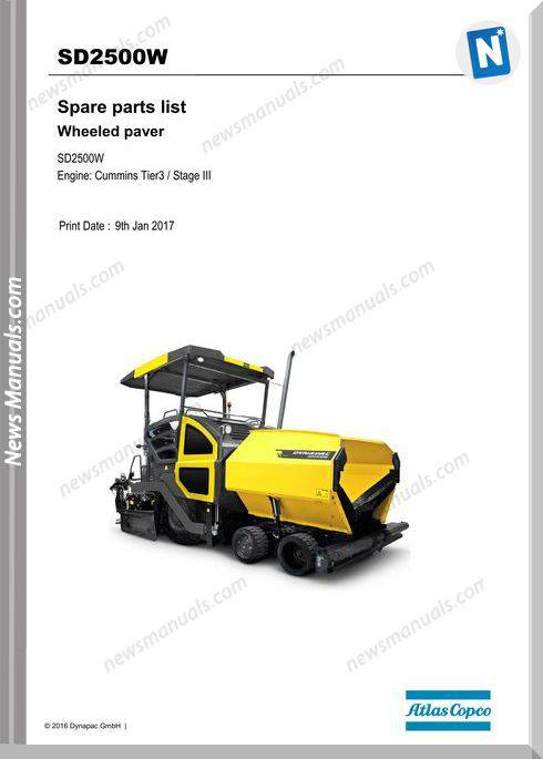 Dynapac Sd2500W Tracked Paver Parts Manual
