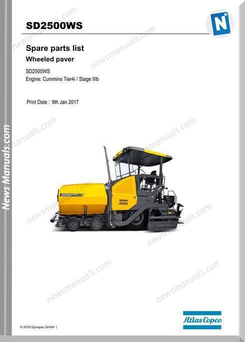 Dynapac Sd2500Ws Tracked Paver Parts Manual