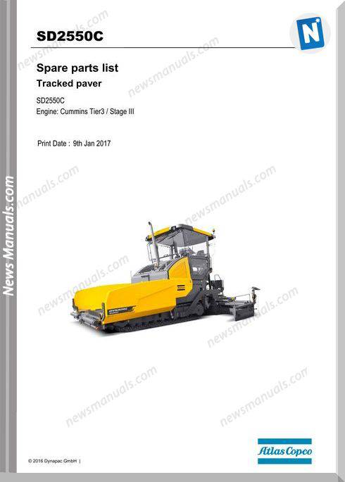 Dynapac Sd2550C Tracked Paver Parts Manual