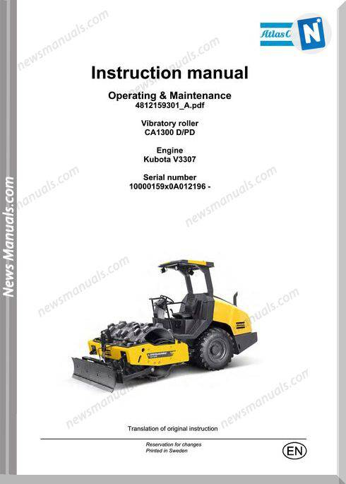 Dynapac Vibratory Roller Ca1300 Dpd Maintenance Manual
