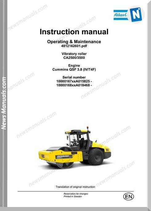 Dynapac Vibratory Roller Ca2500 3500 Maintenance