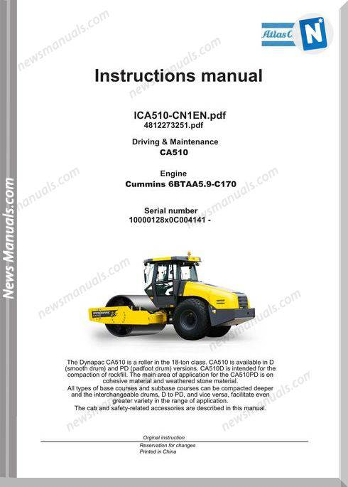Dynapac Vibratory Roller Ca510 Maintenance Manual