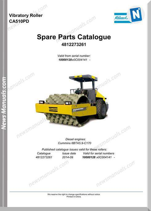 Dynapac Vibratory Roller Ca510Pd Parts Catalogue