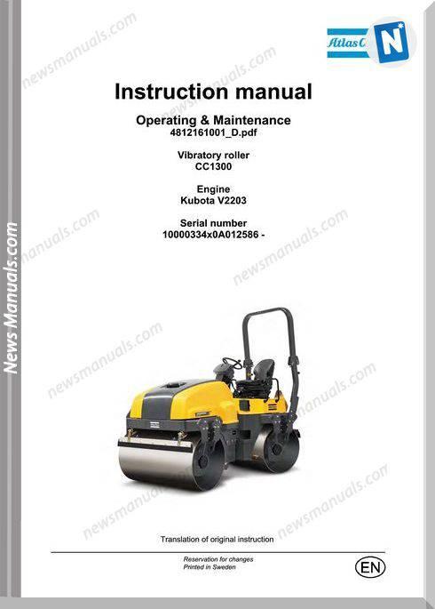 Dynapac Vibratory Roller Cc1300 Maintenance