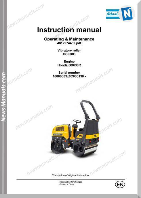 Dynapac Vibratory Roller Cc900G Op Maintenance Manual