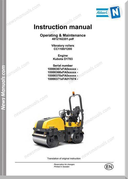 Dynapac Vibratory Rollers Cc1100Cc12 Maintenance Manual