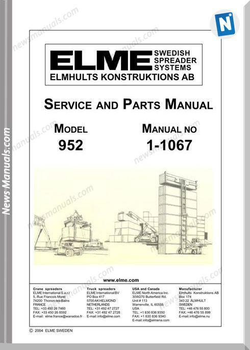 Elme Container Agg Model 952 Repair Manual