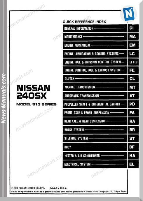 Factory Shop Manual Nissan 240Sx 1990