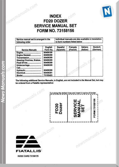 Fiat Allis Fd20 Models Crawler Dozer Service Manual