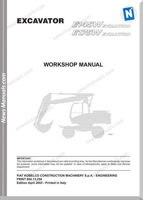 Fiat Kobelco E145W E175W Workshop Manual