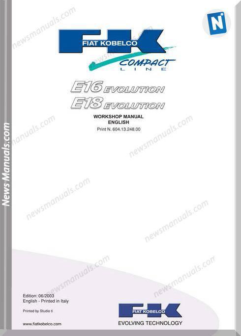 Fiat Kobelco E16 E18 Evolution Workshop Manual