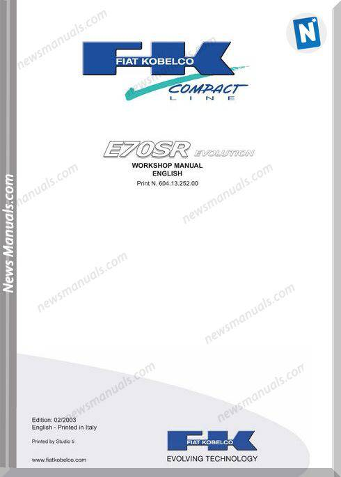 Fiat Kobelco E70Sr Evolution Workshop Manual