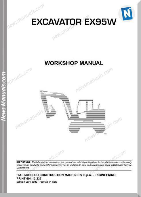 Fiat Kobelco Ex95W Workshop Manual
