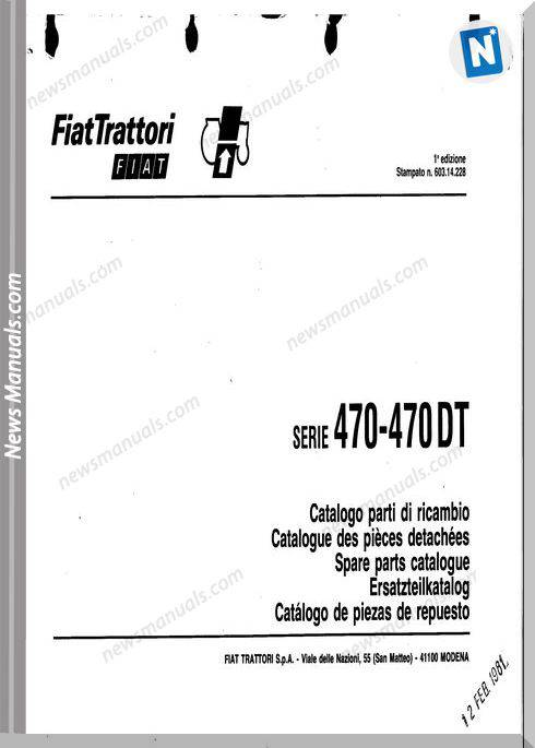 Fiat Serie 470 Parts Catalog French Language