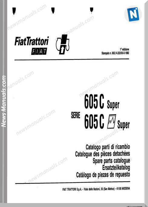 Fiat Serie 605C-Super Parts Catalog Fr Language