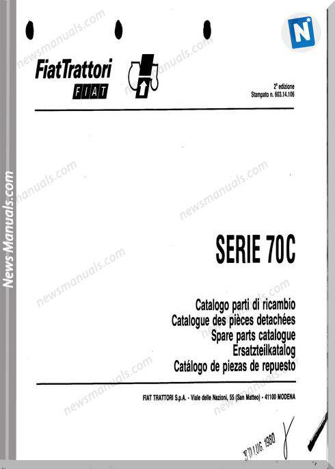 Fiat Serie 70C Parts Catalog French Language