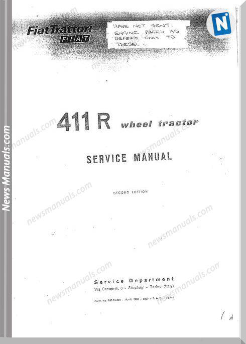Fiat Tractor 411R Models Wheel Tractor Service Manual